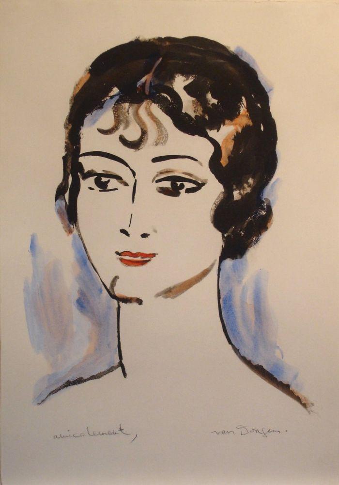 Литография Van Dongen - Portrait de Jeune Femme