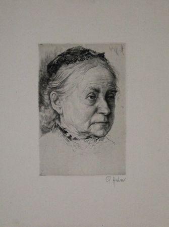 Гравюра Halm - Portrait einer alten Dame