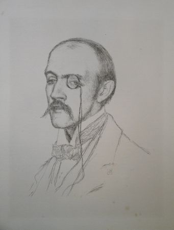 "Литография Rysselberghe - Portrait ""Henri de Regnier"""