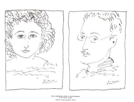Литография Picasso - Pour La Rehabilitation de Ethel et Julius Rosenberg  et de Morton Sobel