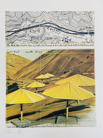 Литография Christo - Project pour California Site, Umbrellas