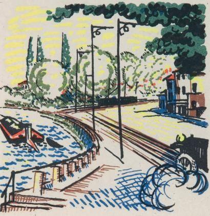 Иллюстрированная Книга Laboureur - Promenade avec Gabrielle. Texte et images lithographiés en couleurs par Jean Giraudoux et Jean-Emile Laboureur.