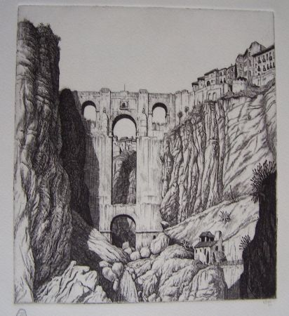 Гравюра Strang - Puente Nuevo, Ronda, Spain