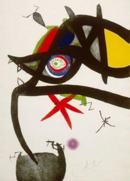 Офорт И Аквитанта Miró - Quatre Colors Aparien El Món, Plate Iv