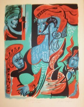 Литография Masson - Quatre dames