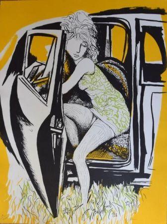 Литография Guttuso - Ragazza che scende dall'auto