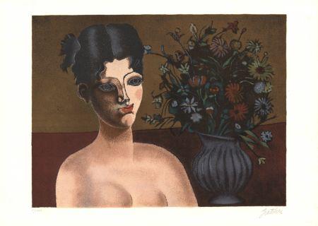 Литография Gentilini - Ragazza con vaso di fiori
