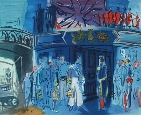 Литография Dufy - Reception d'in amiral Anglais sur un bateua Francais