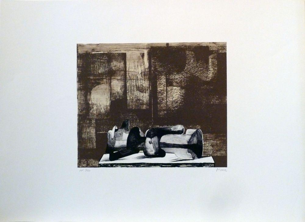 Литография Moore - Reclining figure architectural background IV