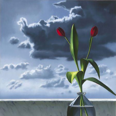 Нет Никаких Технических Cohen - Red Tulips Against Cloudy Sky