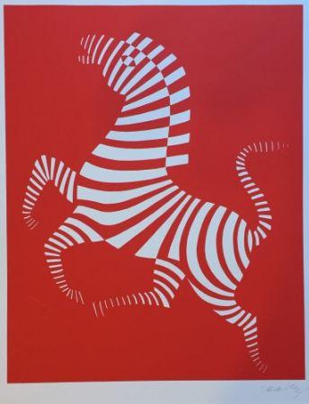 Сериграфия Vasarely - Red zebra