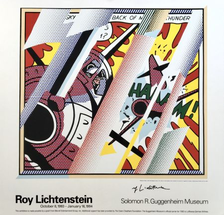 Литография Lichtenstein - 'Reflections: Whaam!' Hand Signed Exhibition Poster