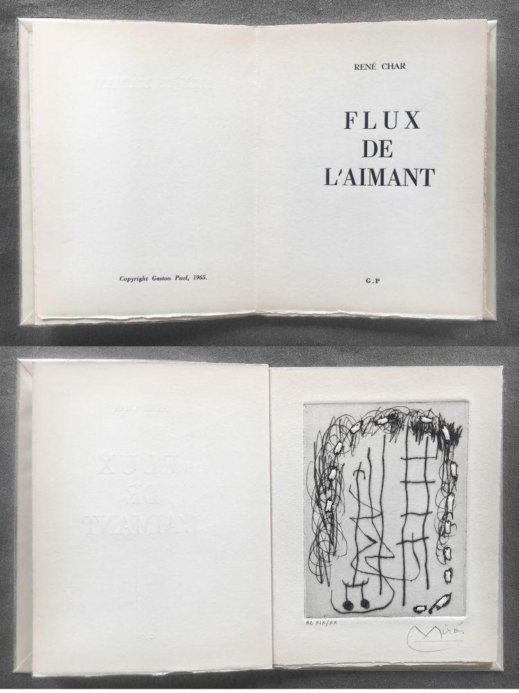 Иллюстрированная Книга Miró - René Char : FLUX DE L'AIMANT. Gravure de Joan Miró.