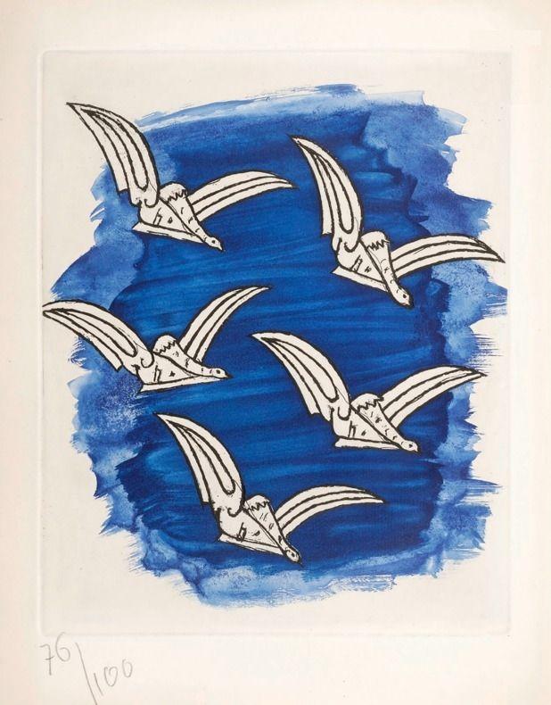 Иллюстрированная Книга Braque - René Char : LA BIBLIOTHÈQUE EST EN FEU. Avec une gravure originale de Georges Braque. 1956.