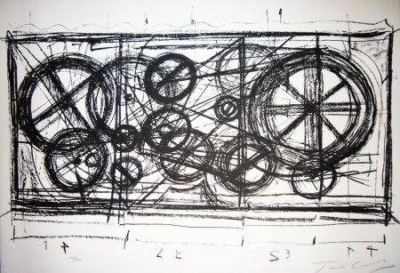 Литография Tinguely -  Requiem pour une feuille morte