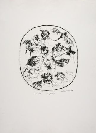 Офорт Piacesi - Rose e libellula