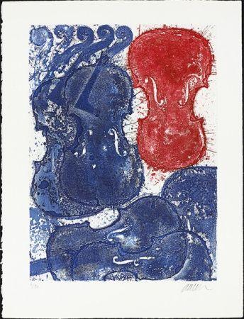 Офорт Arman - Rouge et bleu