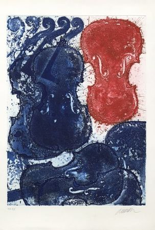 Гравюра Arman - Rouge et bleu