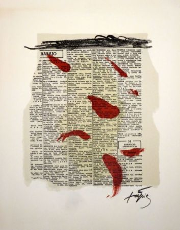 Литография Tàpies - Rouge sur papier journal