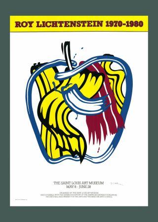Сериграфия Lichtenstein - Roy Lichtenstein 'Apple' 1981 Hand Signed Original Pop Art Poster with COA