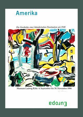 Литография Lichtenstein - Roy Lichtenstein 'Figures in Landscape (Amerika/Europa)', Original Pop Art Poster, Hand Signed, 1986