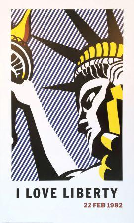 Литография Lichtenstein - Roy Lichtenstein 'I Love Liberty' 1982 riginal Pop Art Poster with COA