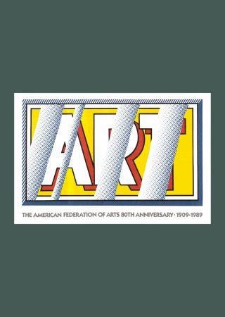 Литография Lichtenstein - Roy Lichtenstein 'Reflections: Art' Original Pop Art Poster 1989