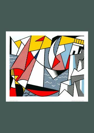 Литография Lichtenstein - Roy Lichtenstein 'Sailboats' 1973 Original Pop Art Poster