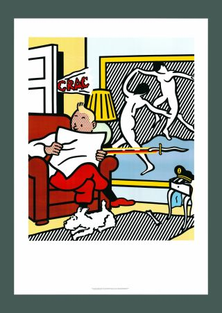 Литография Lichtenstein - Roy Lichtenstein 'Tintin Reading' 1994 Original Pop Art Poster
