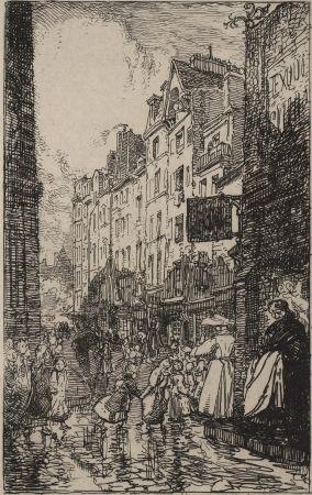 Гравюра Lepere - Rue Boutebrie, le quartier St. Séverin