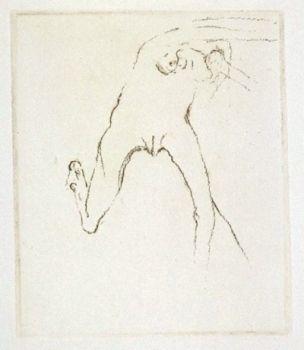 Гравюра Beuys - Schwurhand: Frau rennt weg mit Gehirn