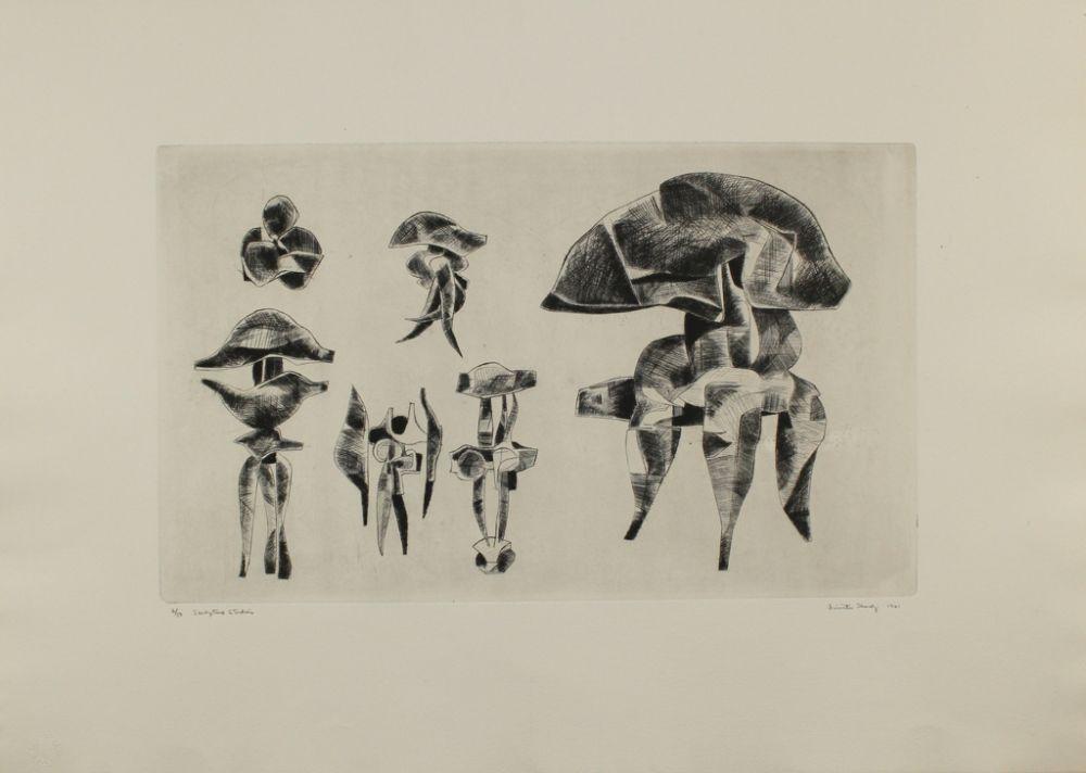 Гравюра Hadzi - Sculpture Studies