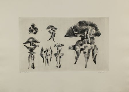 Гравюра Hadzi - Sculpture Studies