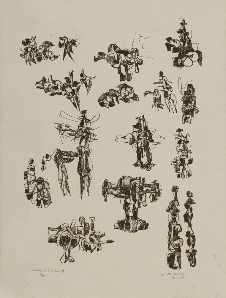 Литография Hadzi - Sculpture Studies V