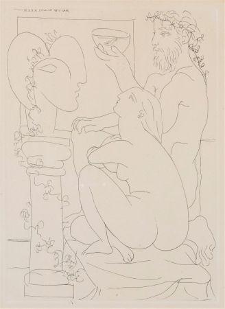 Офорт Picasso - Sculteur avec couple et modele accroupì.