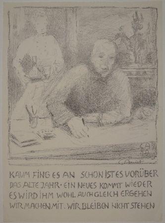 Литография Amiet - Selbstbildnis am Zeichentisch mit Frau