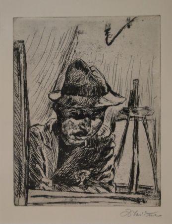 Гравюра Meidner - Selbstbildnis (mit Hut im Atelier)