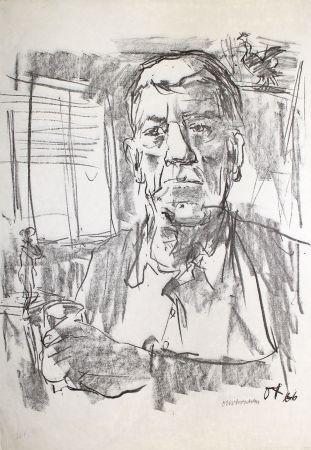 Литография Kokoschka - Selbstbildnis mit Statuette