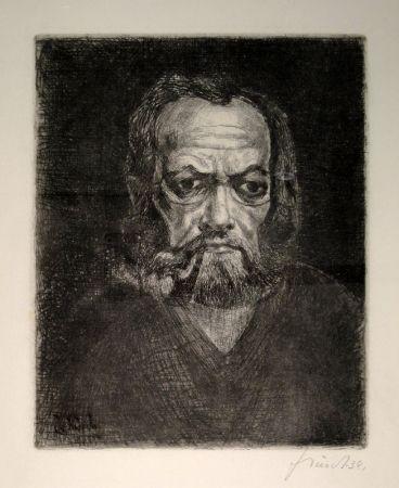 Гравюра Schürch - Selbstporträt en face mit Pfeife