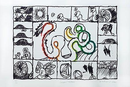 Литография Alechinsky - Serpent restauré