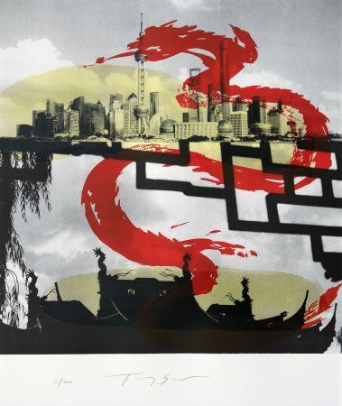 Литография Soulie - Shanghai le Dragon