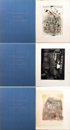 Офорт И Аквитанта Hasegawa - SHOICHI HASEGAWA - JAMES COIGNARD - MAX PAPART : HOMME DANS LA VILLE. 3 GRAVURES ORIGINALES