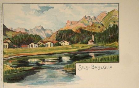 Литография Giacometti - Sils-Baseglia / Samaden / Sils-Maria / Silva Plana mit Piz Margna / Maloja / Der Schafberg