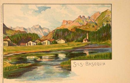 Литография Giacometti - Sils-Baseglia / Samaden / Sils-Maria / Silva Plana mit Piz Margna / Maloja / St.Moritz / Der Schafberg / Forno-Gletscher.