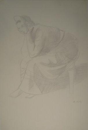Монотип Holy - Sitzende junge Frau, den Kopf auf die Unterarme mit den Händen gestützt.