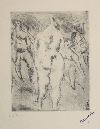 Гравюра Сухой Иглой Pascin - Six Femmes nues