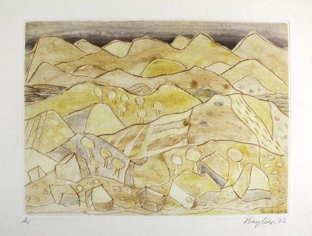 Офорт И Аквитанта Bargheer - Sizilianische Landschaft / Sicilian Landscape