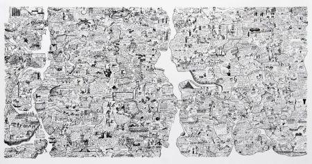 Сериграфия Fahlström - Sketch for World Map from the Peace Portfolio