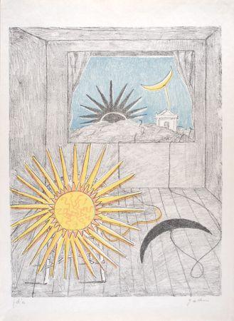Литография De Chirico - Sole e luna in una stanza