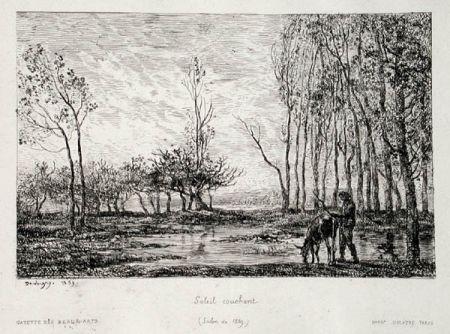 Гравюра Daubigny - Soleil couchant